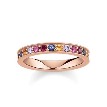 Buy Thomas Sabo Royalty Rose Gold & Multi CZ Ring Size 52