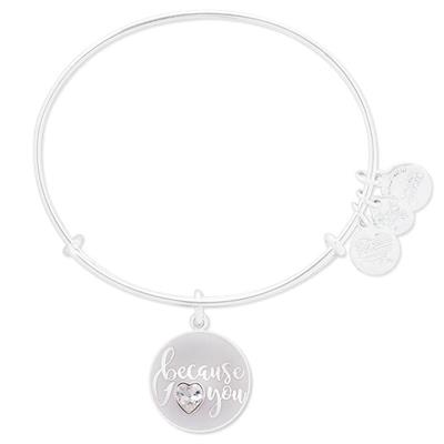 Buy Alex and Ani Because I Love You Swarovski Bangle in Shiny Silver