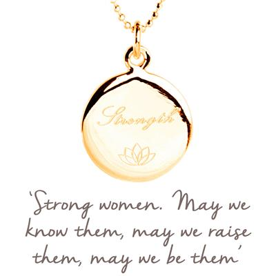 Buy Strength Disc Mantra Necklace in Gold
