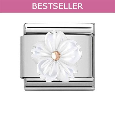 Buy Nomination Rose Gold & White Mother of Pearl Flower Charm