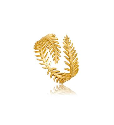 Buy Ania Haie Gold Palm Leaf Tropic Thunder Adjustable Ring