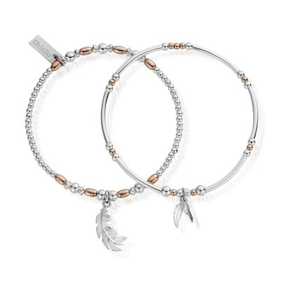 Buy ChloBo Rose Gold & Silver Strength Courage Set of 2 Bracelets