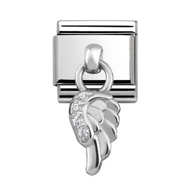 Buy Nomination Silver Hanging Angel Wing Charm with CZ Embellishment