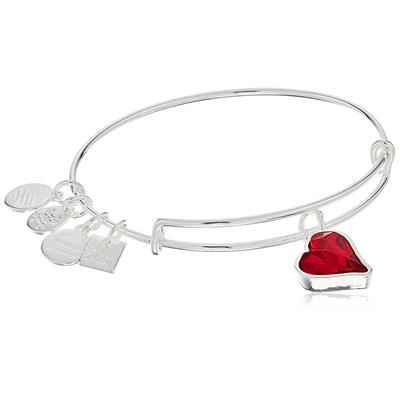 Buy Alex and Ani RED Charity Heart of Strength Bangle in Shiny Silver