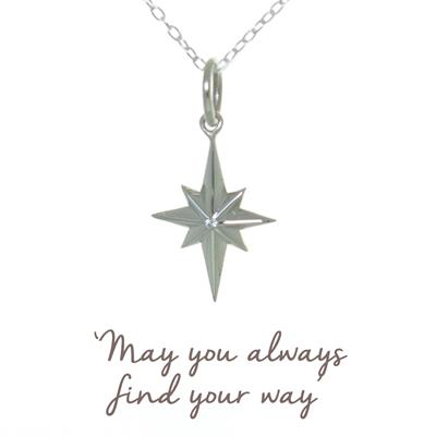 Buy Mantra North Star Necklace in Silver