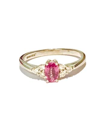 Buy Precious Gems Pink Sapphire and 0.15 Carat Diamond Ring in 18ct White Gold (UK size P 1/2)