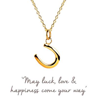 Buy Horseshoe Mantra Necklace in Gold