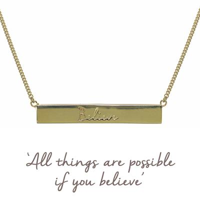 Buy Gold Believe Bar Mantra Necklace