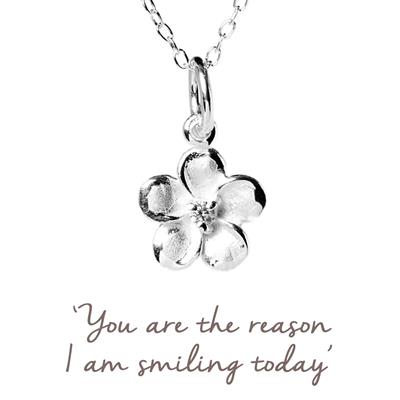 Buy Flower Mantra Necklace in Silver