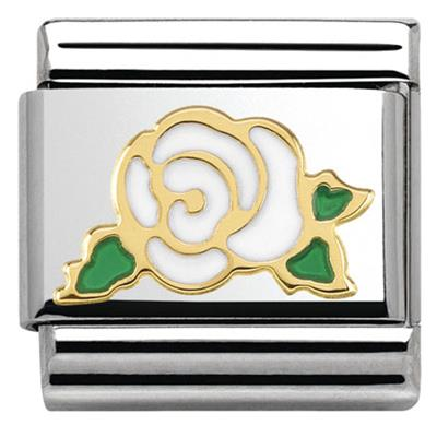 Buy Nomination Gold White Rose Charm