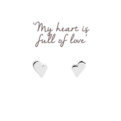 Buy Heart Mantra Studs in Silver