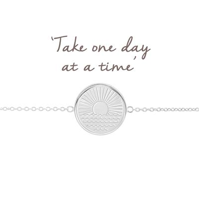 Buy Mantra One Day at a Time Sunrise Disc Bracelet in Sterling Silver