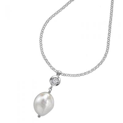Buy Dower and Hall Sterling Silver White Pearl and White Topaz Pendant