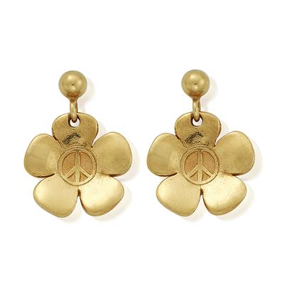 Buy ChloBo Peace Flower Gold Earrings