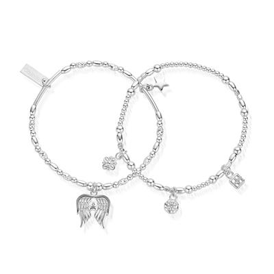 Buy ChloBo Ariella Silver Angel Set of 2 Bracelets
