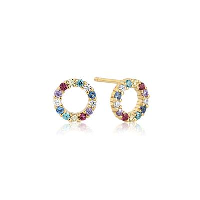 Buy Sif Jakobs 18k Gold Plated Biella Piccolo Stud Earrings with Multicoloured Zirconia