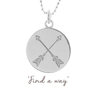 Buy Mantra Find a Way Crossed Arrow Disc Necklace in Sterling Silver