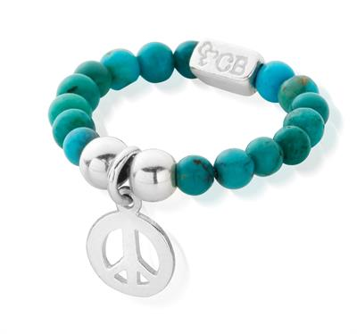 Buy ChloBo Turquoise and Silver Peace Ring Standard