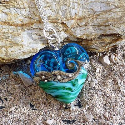 Buy Beach Art Glass Deep Blue Sea Heart Necklace
