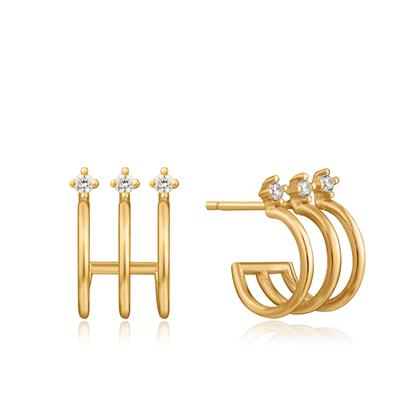 Buy Ania Haie Ear We Go Gold Triple Hoop Earrings with Cubic Zirconia
