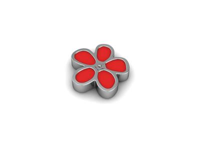 Buy Key Moments Silver Red Enamel Flower Moment