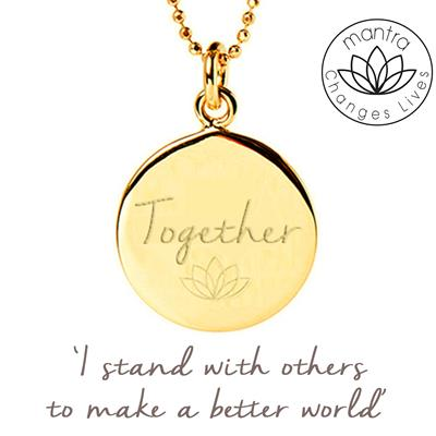 Buy Mantra Together Think Equal, Charity Necklace in Gold