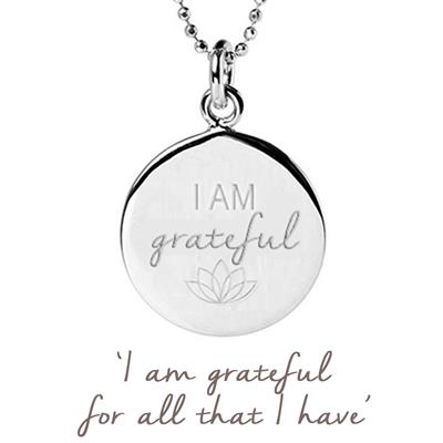 Buy Mantra I am Grateful Disc Necklace in Sterling Silver