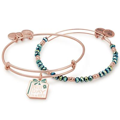 Buy Alex and Ani Every Day Is a Gift bangle Set of 2 in Shiny Rose Gold
