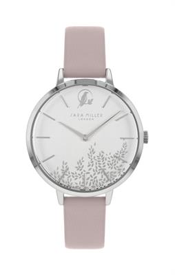Buy Sara Miller Placement Leaf Watch, Silver and Pink