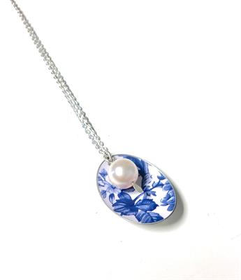 Buy Kate Hamilton-Hunter Blue Oval & Pearl Necklace
