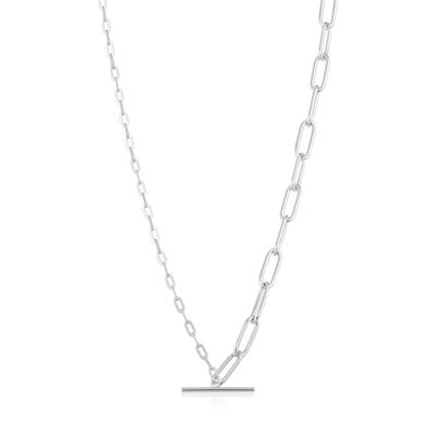 Buy Ania Haie Chain Reaction Silver Mixed Link T-Bar Necklace