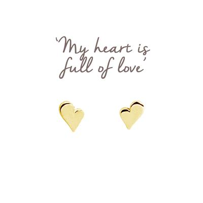 Buy Heart Mantra Studs in Gold