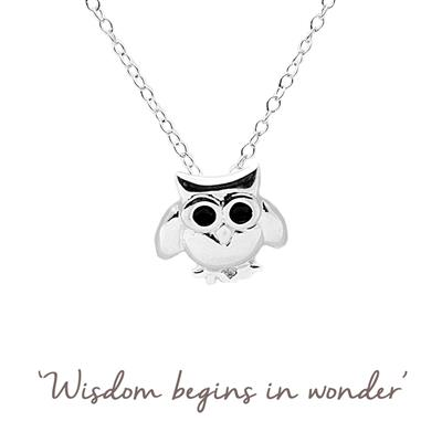 Buy Mantra Owl Necklace in Silver