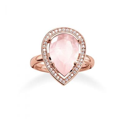 Buy Thomas Sabo Rose Gold & Rose Quartz Pear Shape Ring 56