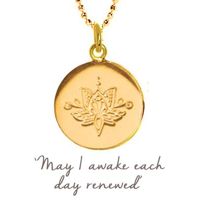 Buy Mantra Lotus Renewed Disc Necklace in Gold