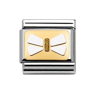 Buy Nomination Gold Glitter White Bow Plate