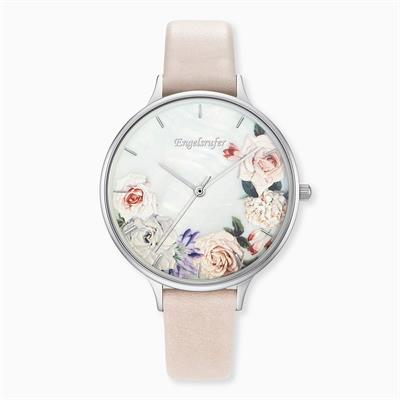 Buy Engelsrufer Flowers Watch in Silver with a Beige Leather Strap