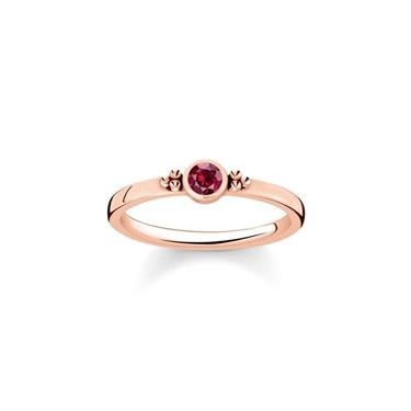 Buy Thomas Sabo Royalty Rose Gold & Single Red CZ Ring Size 52
