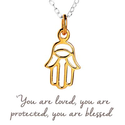 Buy Mantra Hamsa Hand Necklace Gold-Plated