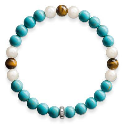 Buy Thomas Sabo Turquoise, Tiger's Eye and Pearl Bracelet 15.5cm