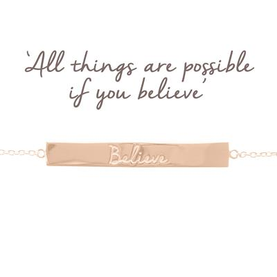 Buy Mantra Believe Bar Bracelet in Rose Gold