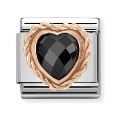 Buy Nomination Rose Gold Black CZ Heart Charm