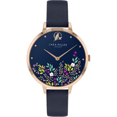 Buy Sara Miller Ditsy Floral Watch, Rose Gold and Navy