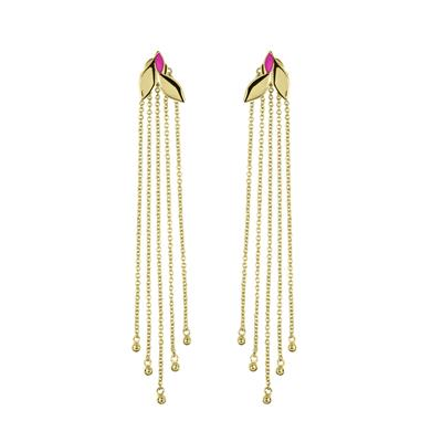 Buy Sara Miller Yellow Gold Leaf Drop Earrings