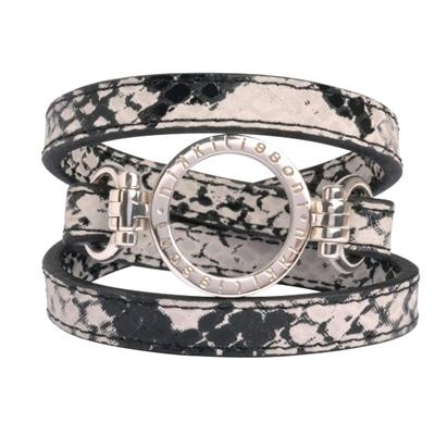 Buy Nikki Lissoni Snakeskin Silver Leather Wrap Bracelet
