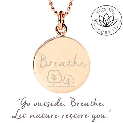 Buy Mantra Breathe Charity Necklace in Rose Gold