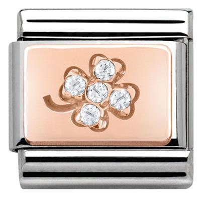 Buy Nomination Rose Gold Cubic Zirconia Clover Charm