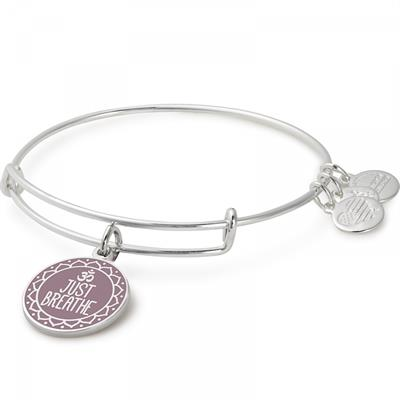 Buy Alex and Ani Just Breathe bangle in Shiny Silver