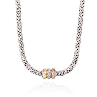 Buy Pure Attraction Silver Popcorn Necklace with CZ clasp