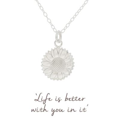 Buy Mantra Sunflower Necklace in Sterling Silver